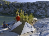 Homemade tent in Lower Dusy Basin