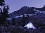 Homemade tent at dusk