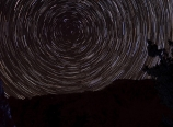 Star trails and homemade tent at Lake 10880
