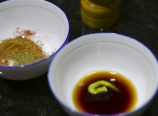 Soy sauce and wasabi