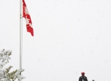 Canadian flag with man in red turban