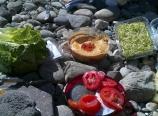 Pita and hummus lunch