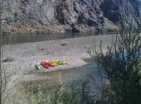 Kayaks on the sandbar