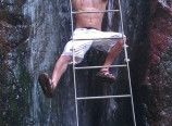Jacob Mayor in the hot waterfall
