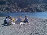 Having lunch on a sandbar