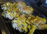 Grilling the artichokes