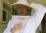 Chris donning the bee suit