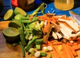 Lime, green onions, carrots, tofu