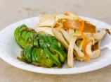 Cucumber and tofu salads