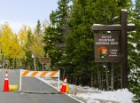 Barricaded entrance to Rocky Mountain National Park