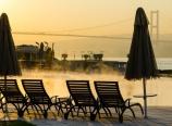 Çırağan Palace pool and the Bosphorus Bridge