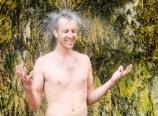 Bjorn under the waterfall