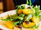 Yellow beets and haricots verts with pistachios and arugula salad