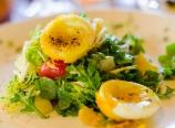 Artichoke hearts, peas and favas with treviso and arugula salad