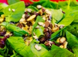 Cranberries, almonds, and spinach