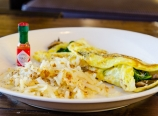 Hash browns, mushroom spinach cheese omelette, with Tabasco sauc