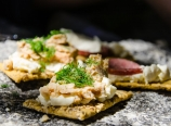 Crackers, cream cheese, salmon, fresh dill