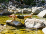 Doing pushups on the Kern River