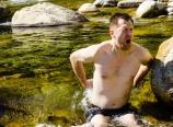 Mark taking a bath