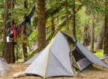 Tent and hanging laundry