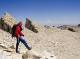 Mark hiking back down