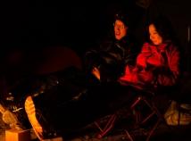 Enjoying the campfire