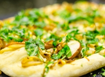 Pear, caramelized onion, arugula flatbread