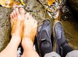 Unshod and shod feet