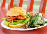 Burger and grilled vegetables