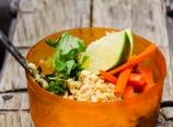 Thai peanut noodle, fresh carrots, lime, and cilantro