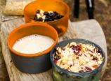 Soy milk, oatmeal, and granola