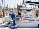 Hoisting the dinghy