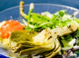 Grilled artichoke, ravioli with vodka sauce, green salad