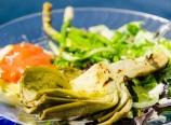 Grilled artichoke, ravioli with vodka sauce, green salad
