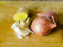 Garlic, ginger, and shallots