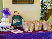 Diaper cake and party favors