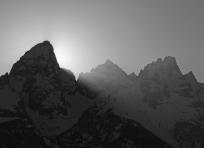 Sunset behind Grand Teton